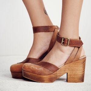 Free People brown ankle strap platform clog